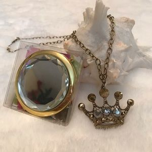 Bling Queen Crown Necklace & Compact Mirror Set